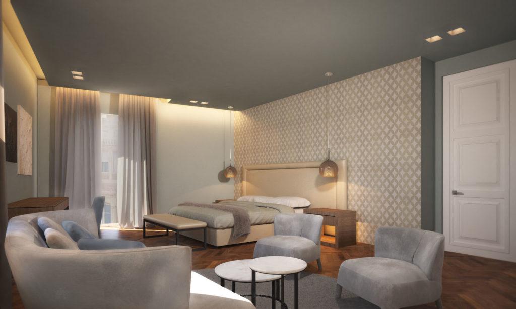 imagine della stanza junior suite Hotel Michelangelo a Carrara. Camera elegante e spaziosa nel cuore della capitale del marmo